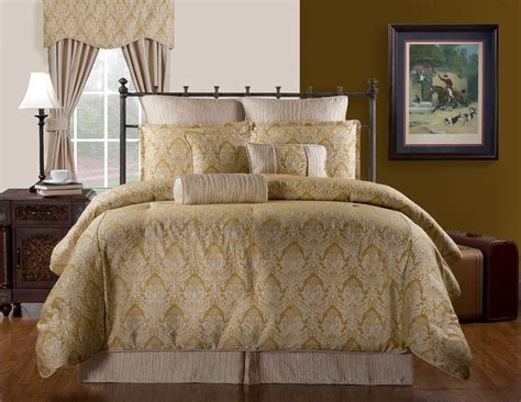 Damask Bedding Set by Cadbury Traditional Gold Ivory Damask Bedding