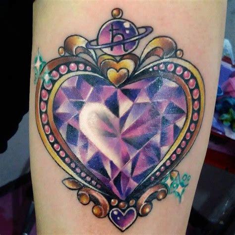 tattoo diamond green purple crystal heart tattoo crystal diamond heart