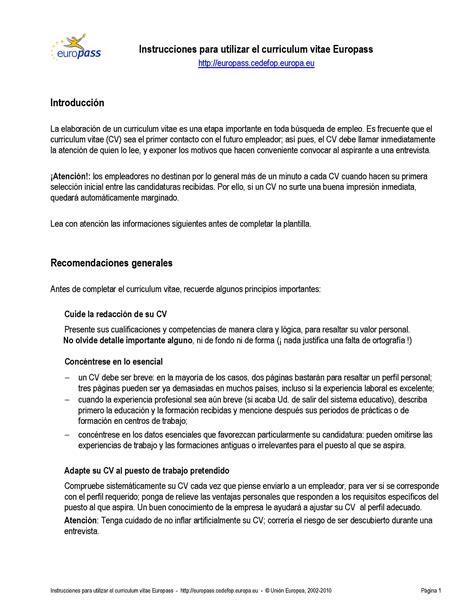 Modelo Curriculum Vitae Europeo Français Enlaces Empleo Servicios