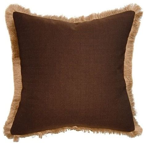 Brown With Pillows by Brown Jute Fringe Pillow