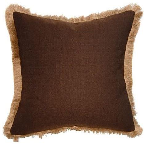brown jute fringe pillow