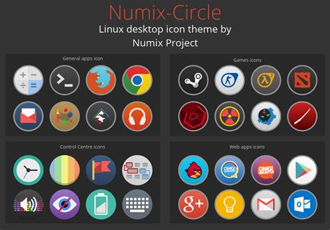 computer icon themes numix circle linux desktop icon theme by me4oslav on