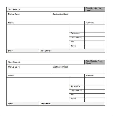 Taxi Receipt Template Excel by Taxi Receipt Templates Free 8 Sle Word Pdf
