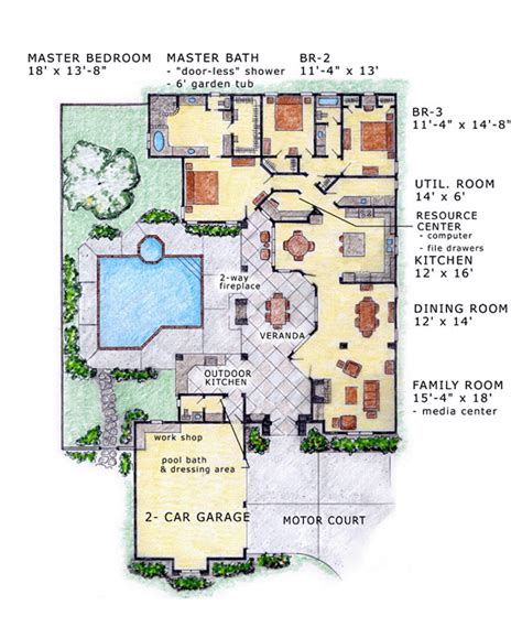 florida home designs floor plans house plan 56530 at familyhomeplans com