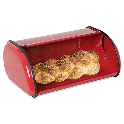 bread boxes bed bath and beyond buy home basics 174 stainless steel bread box in red from bed
