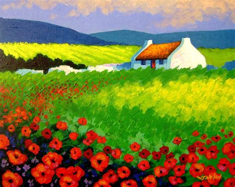 Cottages Plans by Poppy Field Ireland Painting By John Nolan