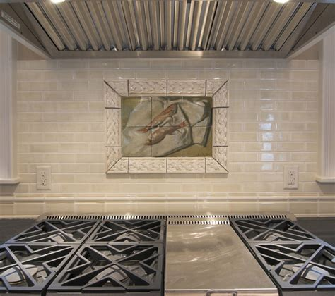 ceramic tile murals for kitchen backsplash fish tile mural in traditional kitchen backsplash