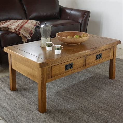 Original Rustic 4 Drawer Coffee Table In Solid Oak Rustic Oak Coffee Table With Drawers