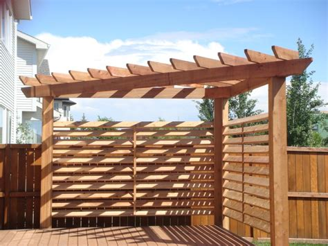 privacy pergola triangular cedar pergola with 1 215 6 slated privacy wall