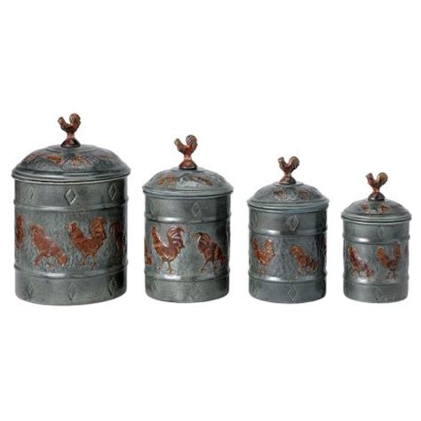 rooster kitchen canisters old dutch international rooster 4 piece fresh canister set
