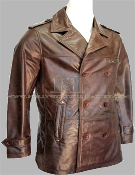 Real Reefer Sweater mens brown leather pea coat coat nj