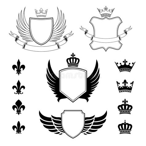 heraldic design elements vector set of winged shields coat of arms heraldic design