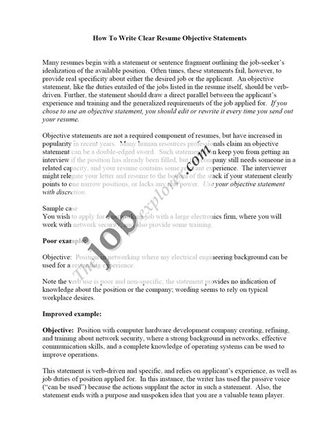 resume career objectives objective resume sample statements