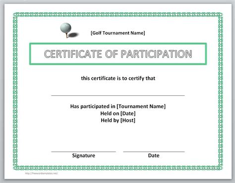 certificate participation template 13 free certificate templates for word microsoft and