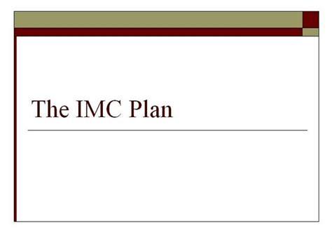 Imc Plan Template Imc Plan Authorstream