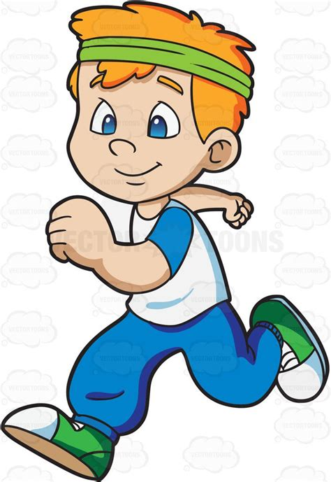 A Boy Jogging Happily Cartoon Clipart Vector Toons Go Away Big Green Coloring Page