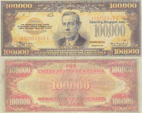 100 000 Dollar In Der Ori Us 100 000 Dollars Bill Lunaticg Coin