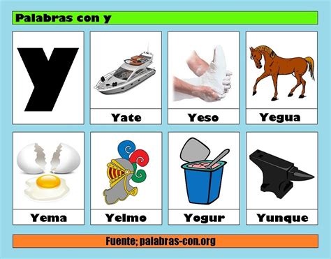 imagenes y palabras con la letra o palabras con la letra y y ejemplos de palabras con y