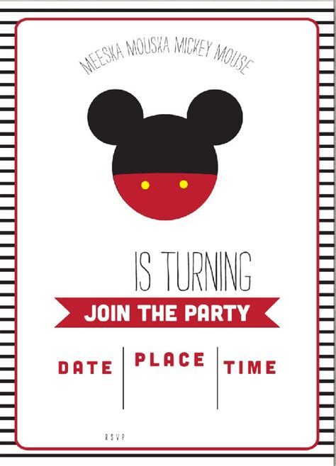 mickey mouse invitation card template free simple mickey mouse invitation template