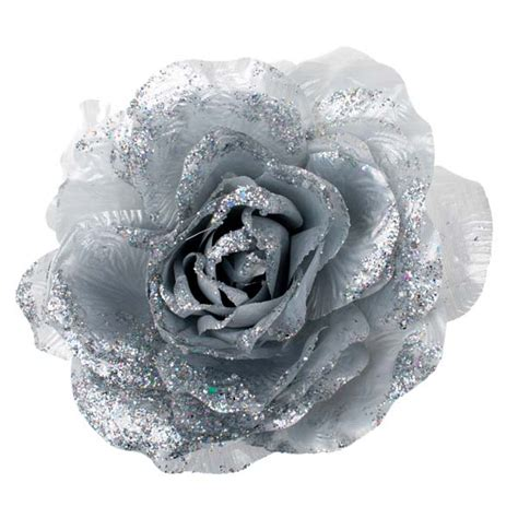 Silver Silk Rose Flower On Clip 20cm Party Decorations