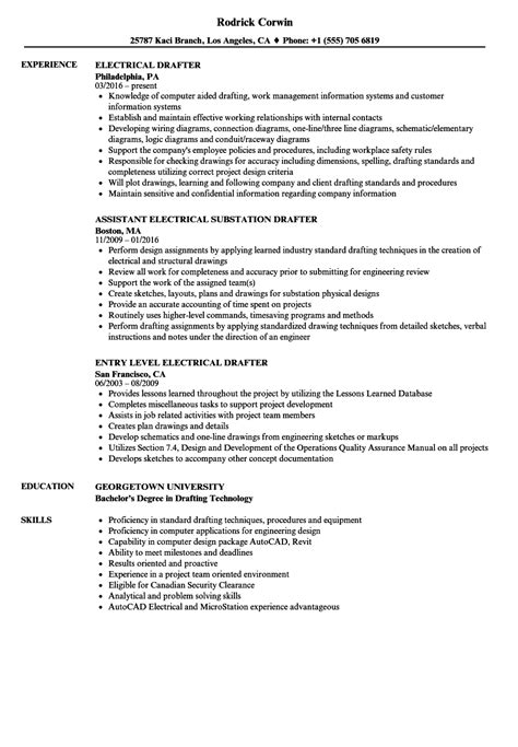 drafting resume exles electrical drafter resume sles velvet