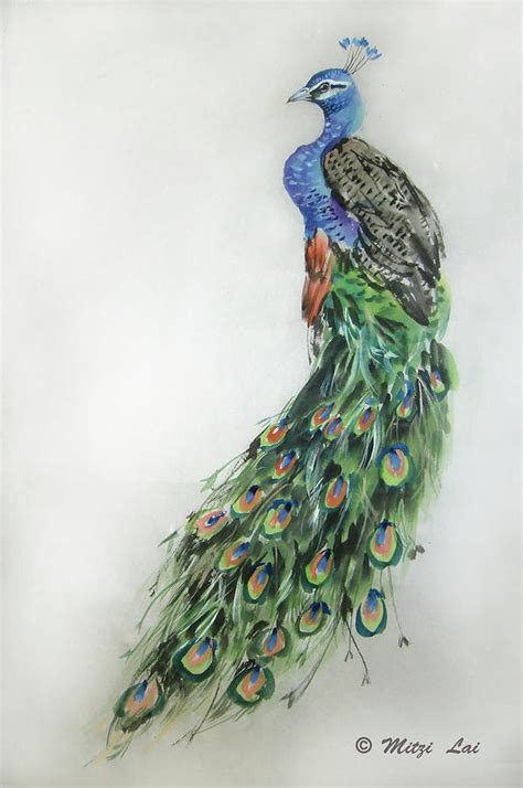 royal peacock painting by mitzi lai