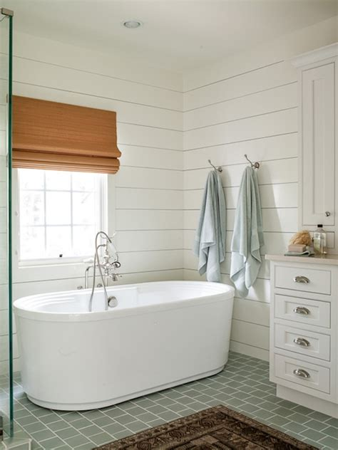 Cottage With Tub by Blue Gray Subway Tiles Cottage Bathroom Liess
