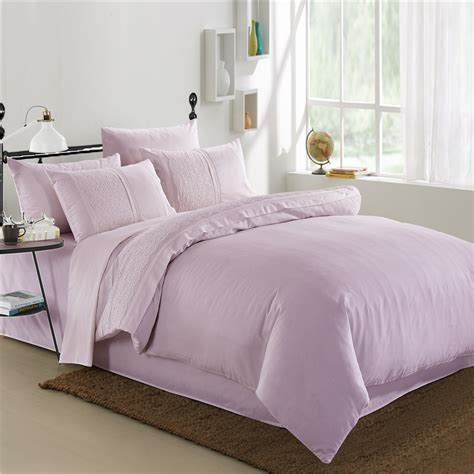 Sateen Bedding Sets 6pcs 40s Silk Sateen Pink Cotton Bed Set Luxury Bedding Set King Duvet Cover Sets Wedding