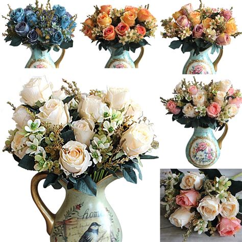 artificial flower decorations for home 5 colors artificial rose flowers decoration fleur