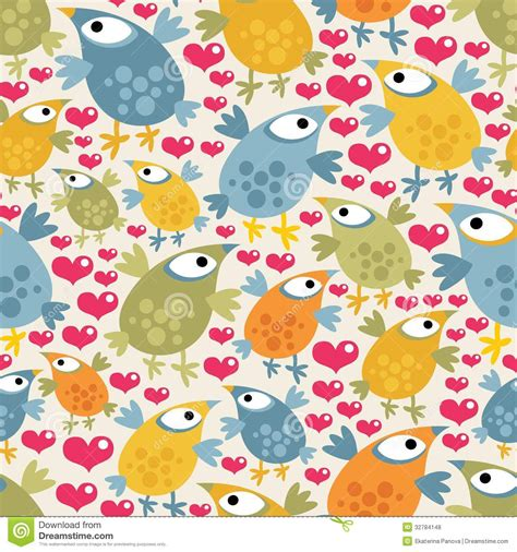 cute pattern texture seamless pattern with cute birds and hearts royalty free