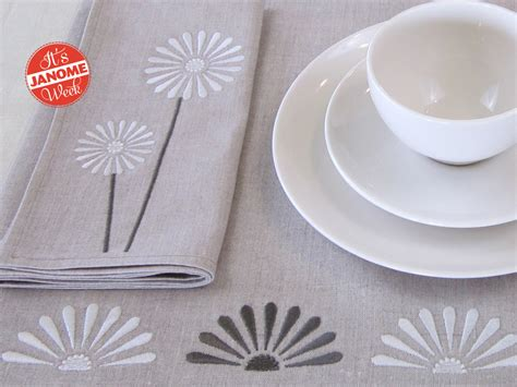 design ideas napkins janome week embroidered table linens with free design