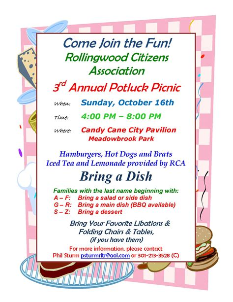 potluck flyer template 2011 potluck picnic rollingwood citizens association