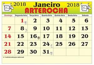 Calendario 2018 Janeiro Arterocha