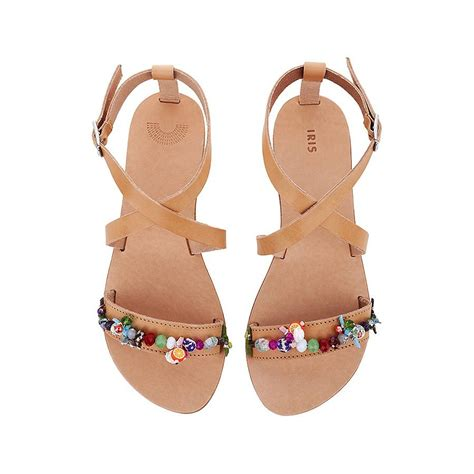 hibiscus sandals hibiscus open toe embellished leather sandals by iris