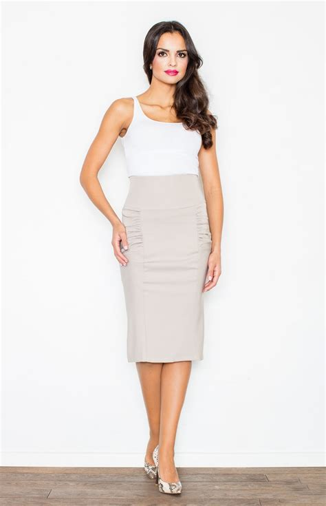 beige high waisted skirt dress ala