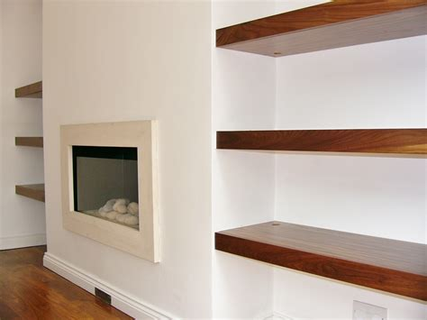 bespoke floating shelves shelving fireplace alcove fireplaces