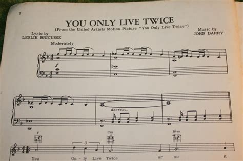 theme song you only live twice you only live twice sheet music little storping museum