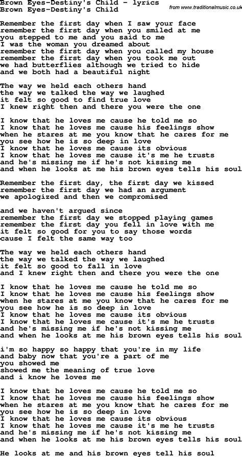 printable lyrics for brown eyed girl love song lyrics for brown eyes destiny s child