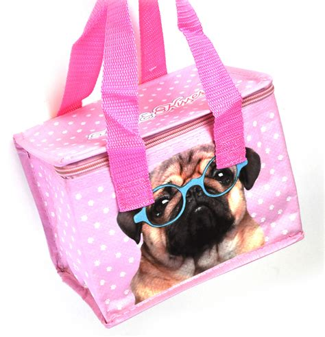 pug lunch bag pug insulated lunch box bag pink cat shop