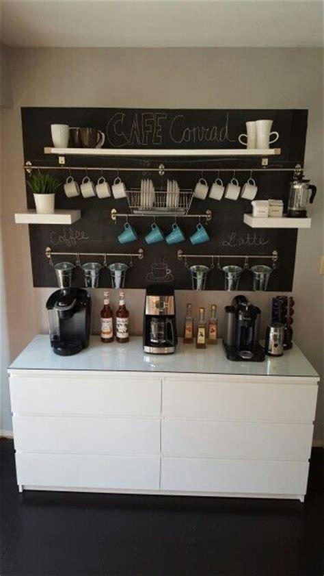 coffee bar ikea fintorp ikea lack keurig nespresso french press ikea malm painted chalkboard