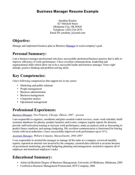 Business Management Resume by Business Management Resume Sles Printable Planner