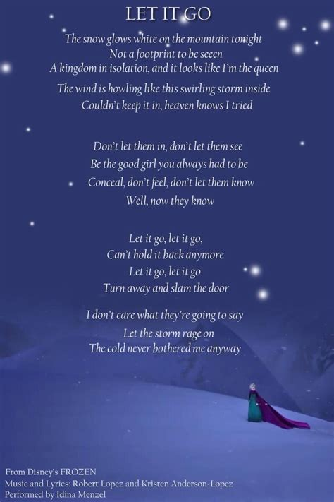 printable frozen lyrics let it go 1000 images about quotes funny pic s on pinterest