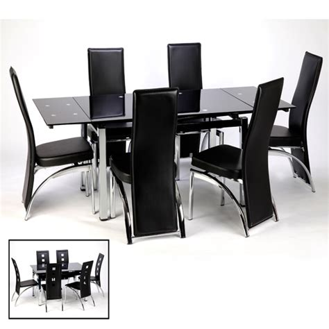 extending dining table and chairs in black 15394