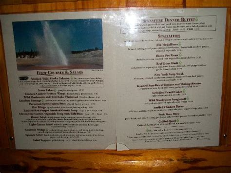 old faithful inn dining room menu partial lunch menu september 2012 picture of old
