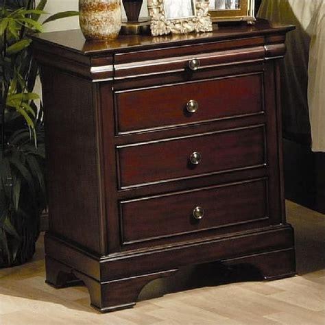 Coaster Nightstand coaster versailles 3 drawer nightstand in mahogany stain finish 201482