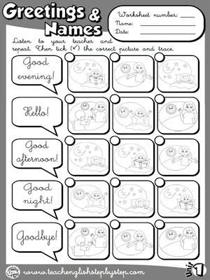 Greetings and Names - Worksheet 3 (B&W version) | école