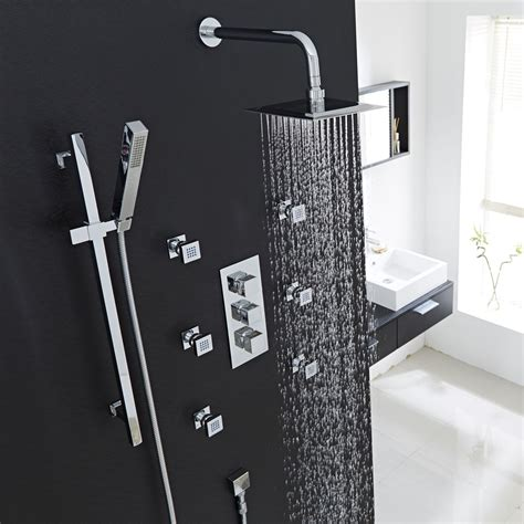 thermostatic shower system with slider rail kit wall arm