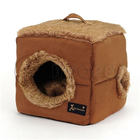 covered cat bed hoopet cubic style soft fake fur covered pet beds for dog