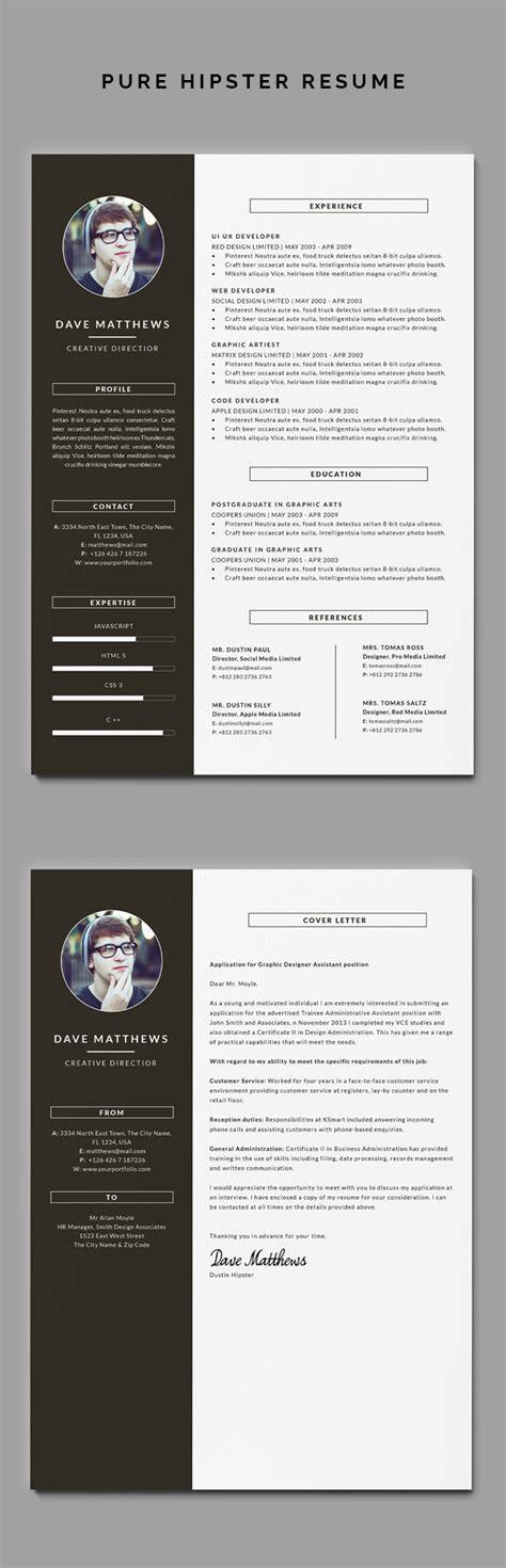 hipster resumecv cover letter behance