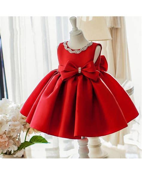 simple red satin elegant flower girl dress  big bow